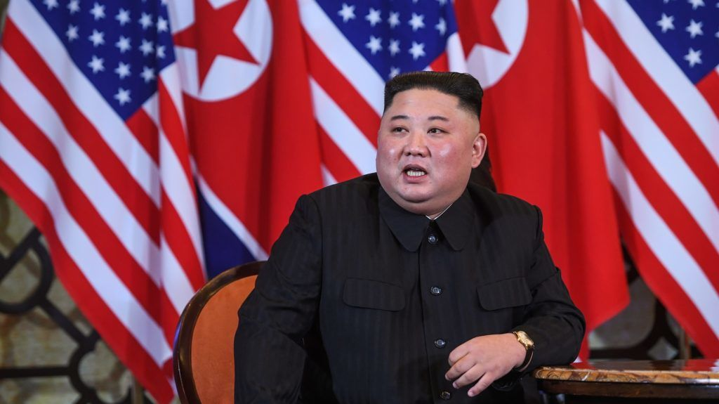 North Korea's leader Kim Jong Un speaks during a meeting with US President Donald Trump (not pictured) at the second US-North Korea summit at the Sofitel Legend Metropole hotel in Hanoi on February 28, 2019. (Photo by Saul LOEB / AFP)