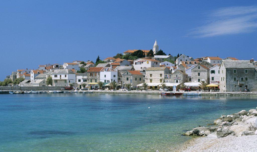 Croatia, Dalmatian Coast, Primosten, Town Skyline