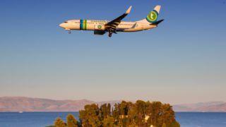 Corfu, Greece ? 14. September 2017: Transavia Boeing 737 at Corfu airport (CFU) in Greece. | usage worldwide
