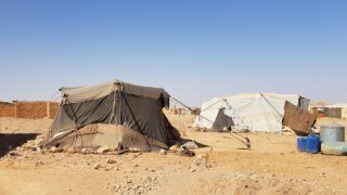 DAMASCUS, SYRIA - SEPTEMBER 27 : Makeshift tents are seen at Rukban camp, which lies in no-man's-land off the border between Syria and Jordan in the remote northeast, near Damascus, Syria on September 27, 2018. Approximately 60,000 civilians shelter at Rukban camp as it lacks medicines and food since 10 months.  Imad Gali / Anadolu Agency