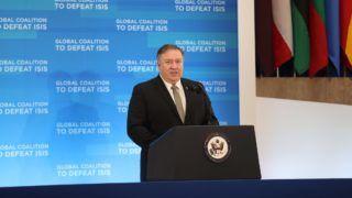 WASHINGTON USA - FEBRUARY 06: U.S. Secretary of State Mike Pompeo makes a speech during the opening of meeting of foreign ministers of anti-Daesh coalition, in Washington, United States on February 06, 2019.   Mustafa Kamaci / Anadolu Agency