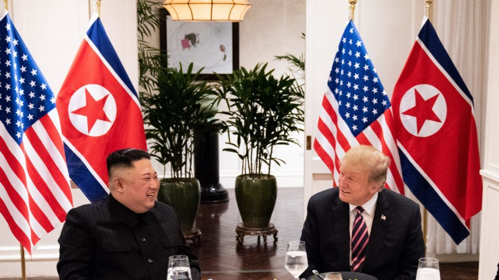 """HANOI, VIETNAM - FEBRUARY 27: (----EDITORIAL USE ONLY – MANDATORY CREDIT - """"WHITE HOUSE PHOTO / SHEALAH CRAIGHEAD / HANDOUT"""" - NO MARKETING NO ADVERTISING CAMPAIGNS - DISTRIBUTED AS A SERVICE TO CLIENTS----) U.S. President Donald Trump (R) and North Korean leader Kim Jong Un (L) meet at the Sofitel Legend Metropole hotel in Hanoi, for their second summit meeting in Hanoi, Vietnam on February 27, 2019. Shealah Craighead / Official White House Photo / Handout / Anadolu Agency"""