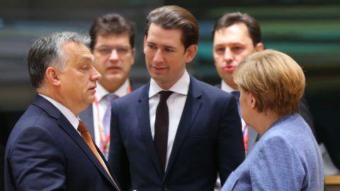 BRUSSELS, BELGIUM - DECEMBER 14: German Chancellor Angela Merkel (R), Austrian Prime Minister Sebastian Kurz (C) and Prime Minister of Hungary Viktor Orban (L) attend the second day meeting of EU Leaders' Summit in Brussels, Belgium on December 14, 2018.  Dursun Aydemir / Anadolu Agency