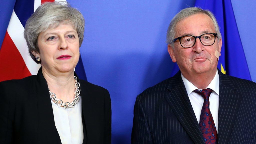 BRUSSELS, BELGIUM - FEBRUARY 20: British Prime Minister Theresa May (L) meets President of the European Commission Jean-Claude Juncker (R) in Brussels, Belgium on February 20, 2019.  Dursun Aydemir / Anadolu Agency