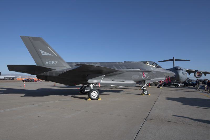 A U.S. Air Force F-35 Lightning II fighter jet on static display during at Luke Air Force Base near Phoenix, Arizona on Saturday, March 17, 2018. (Photo by Yichuan Cao/NurPhoto)