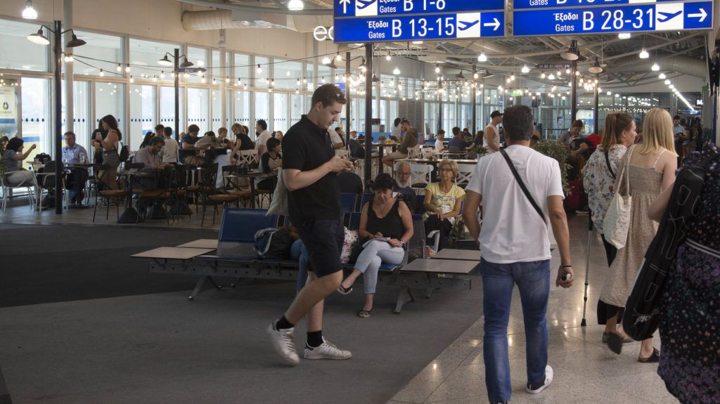 """Athens international airport """"El. Venizelos"""" or """"AIA"""" as seen on 28 of July 2018. The airport is the largest in Greece having in 2017 21.7 million passenger traffic. 2018 shows a significant raise in passenger traffic, marking this year as a record high. Athens airport uses for IATA: ATH and for ICAO: LGAV. Athens airport is a hub for Aegean Airlines, Air Mediterranean, Olympic Air, Ryanair and Sky Express. (Photo by Nicolas Economou/NurPhoto)"""