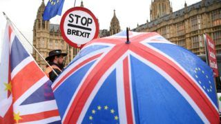 London, 2019. január 16. A brexitet ellenzõk tüntetnek a londoni parlament elõtt 2019. január 16-án. Ezen a napon ellenzéki bizalmatlansági indítványt nyújtanak be Theresa May brit miniszterelnök kormánya ellen, s errõl az este folyamán szavaz a londoni parlament alsóháza. Az elõzõ nap a képviselõk nagy többsége elutasította a brit EU-tagság megszûnésének (brexit) feltételrendszerérõl az Európai Unióval kötött megállapodást. MTI/EPA/Neil Hall
