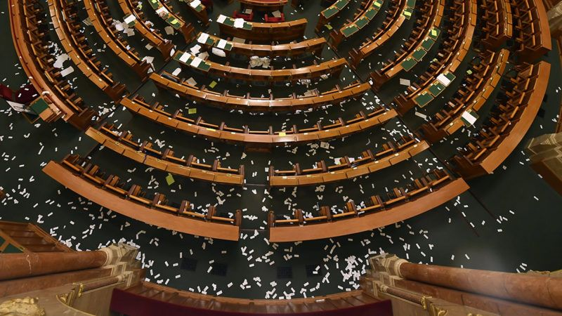 Budapest, 2018. december 12.A Parlament alsÛh·zi terme az Orsz·ggy˚lÈs plen·ris ¸lÈse ut·n 2018. december 12-Èn.MTI/IllyÈs Tibor