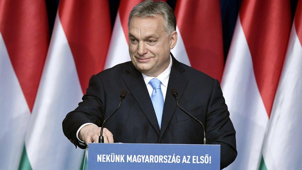 Budapest, 2019. február 10. Orbán Viktor miniszterelnök hagyományos évértékelõ beszéde közben a Várkert Bazárban 2019. február 10-én. MTI/Koszticsák Szilárd