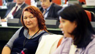 Strasbourg, 2014. július 15. Bocskor Andrea, a Fidesz EP-képviselõje a néppárt magyar delegációjának megbeszélésén az Európai Parlament (EP) épületében 2014. július 15-én. MTI Fotó: Beliczay László