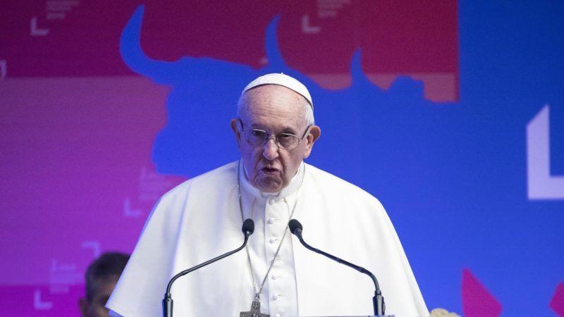 Róma, 2019. február 14. Ferenc pápa az ENSZ Nemzetközi Mezõgazdaság-fejlesztési Alapja (IFAD) kormányzótanácsának 42. ülésszakán Rómában 2019. február 14-én. MTI/EPA/ANSA/Maurizio Brambatti