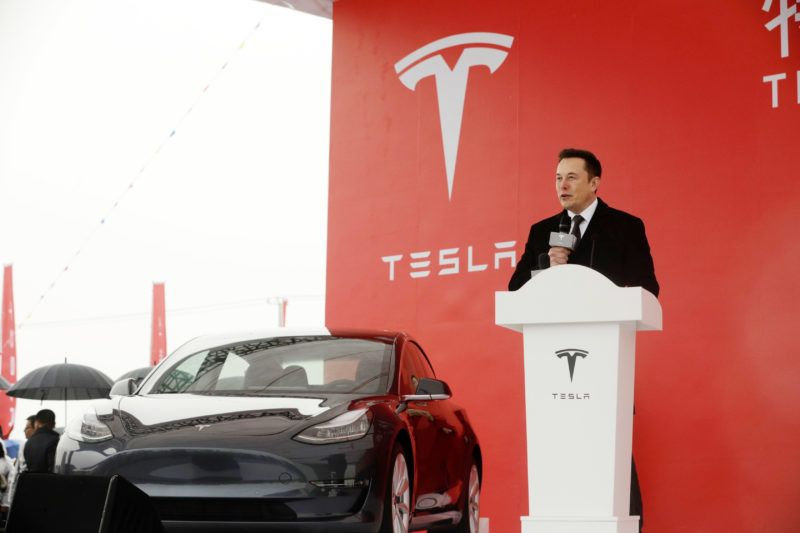 Elon Musk, chief executive officer of Tesla Inc., speaks during an event at the site of the company's manufacturing facility in Shanghai, China, on Monday, Jan. 7, 2019. After four years of planning, Tesla finally broke ground on its planned $5 billion factory in the world's biggest auto market. Photographer: Qilai Shen/Bloomberg via Getty Images