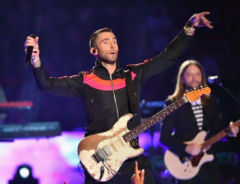 ATLANTA, GA - FEBRUARY 03:  Adam Levine (L) and James Valentine of Maroon 5 perform during the Pepsi Super Bowl LIII Halftime Show at Mercedes-Benz Stadium on February 3, 2019 in Atlanta, Georgia.  (Photo by Jeff Kravitz/FilmMagic)