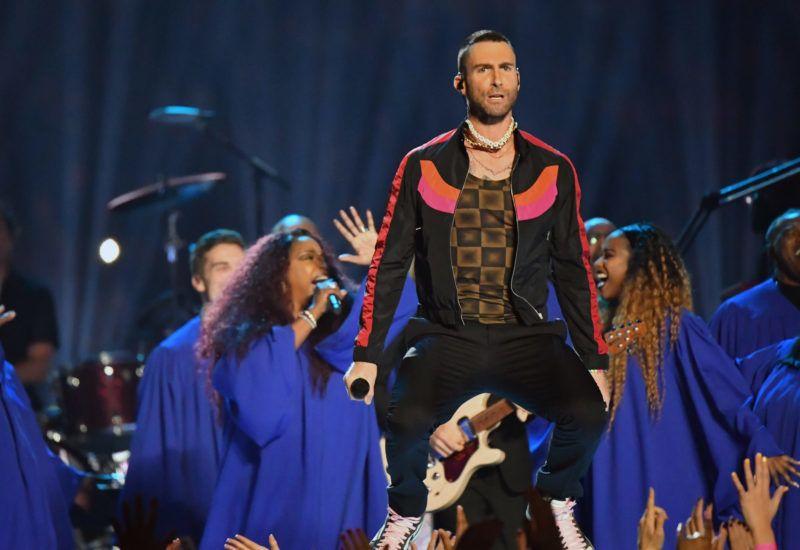 ATLANTA, GA - FEBRUARY 03:  Adam Levine of Maroon 5 performs during the Pepsi Super Bowl LIII Halftime Show at Mercedes-Benz Stadium on February 3, 2019 in Atlanta, Georgia.  (Photo by Jeff Kravitz/FilmMagic)