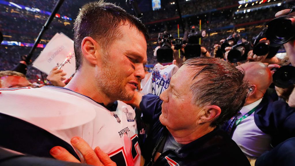 ATLANTA, GA - FEBRUARY 03:  Tom Brady #12 of the New England Patriots talks to head coach Bill Belichick of the New England Patriots after the Patriots defeat the Rams 13-3 during Super Bowl LIII at Mercedes-Benz Stadium on February 3, 2019 in Atlanta, Georgia.  (Photo by Kevin C. Cox/Getty Images)