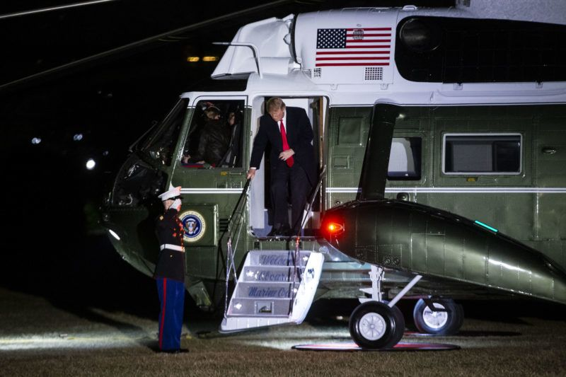 WASHINGTON, DC - FEBRUARY 3:  U.S. President Donald Trump arrives aboard Marine One on the South Lawn of the White House February 3, 2019 in Washington, D.C. Trump was returning from a weekend at his Mar-a-Lago club in Florida.   (Photo by Al Drago-Pool/Getty Images)