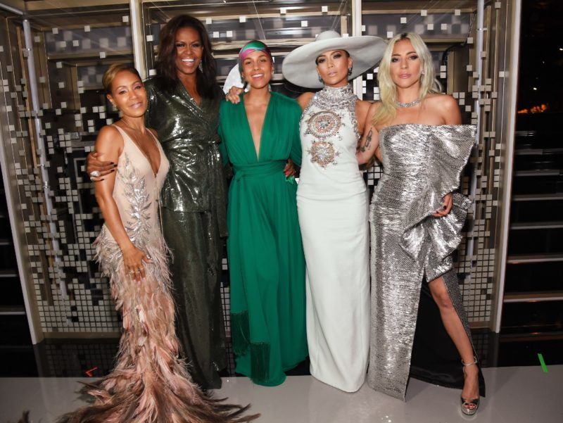 LOS ANGELES, CA - FEBRUARY 10:  (L-R) Jada Pinkett Smith, Michelle Obama, Alicia Keys, Jennifer Lopez, and Lady Gaga backstage during the 61st Annual GRAMMY Awards at Staples Center on February 10, 2019 in Los Angeles, California.  (Photo by Kevin Mazur/Getty Images for The Recording Academy)