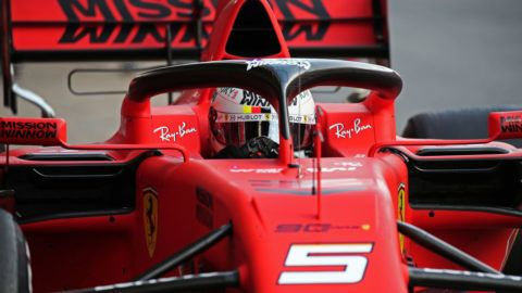 the Ferrari of Sebastian Vettel during the Formula 1 test in Barcelona, on 18th February 2019, in Barcelona, Spain.   -- (Photo by Urbanandsport/NurPhoto via Getty Images)