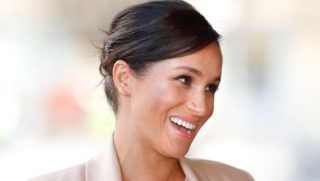 LONDON, UNITED KINGDOM - JANUARY 30: (EMBARGOED FOR PUBLICATION IN UK NEWSPAPERS UNTIL 24 HOURS AFTER CREATE DATE AND TIME) Meghan, Duchess of Sussex visits The National Theatre on January 30, 2019 in London, England. It was announced earlier this month that The Duchess would become Patron of The National Theatre, one of two patronages passed on by Queen Elizabeth II. (Photo by Max Mumby/Indigo/Getty Images)