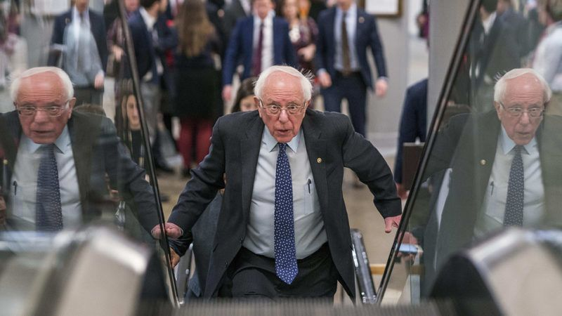 WASHINGTON, DC - FEBRUARY 14: Senator Bernie Sanders (I-VT) briefly  speaks to reporters about the released border security conference committee report, which would prevent another government shutdown, to be possibly voted on today in the Senate on Capitol Hill in Washington DC on Thursday February 14, 2019. (Photo by Melina Mara/The Washington Post via Getty Images)