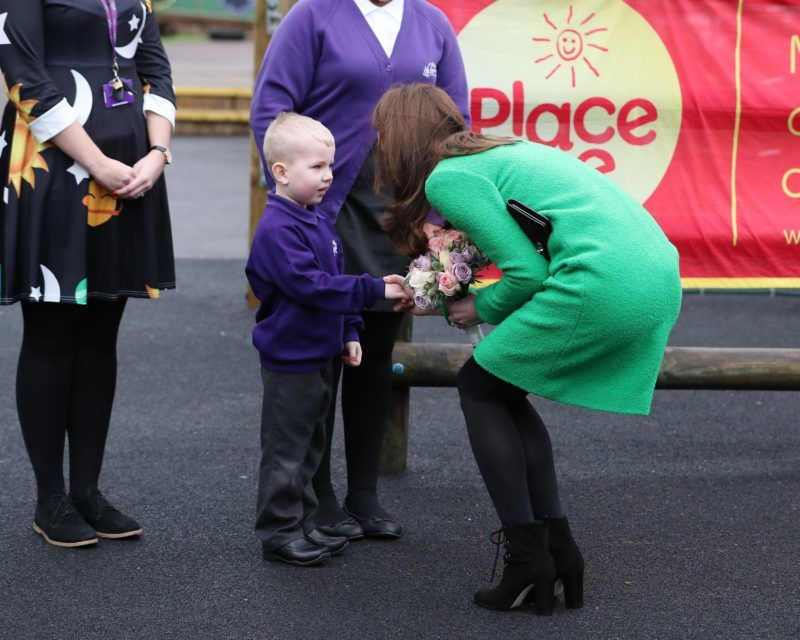 LONDON, ENGLAND - FEBRUARY 05: Catherine, Duchess of Cambridge visits schools in support of Children's Mental Health at Lavender Primary School on February 05, 2019 in London, England. (Photo by Neil Mockford/Getty Images)