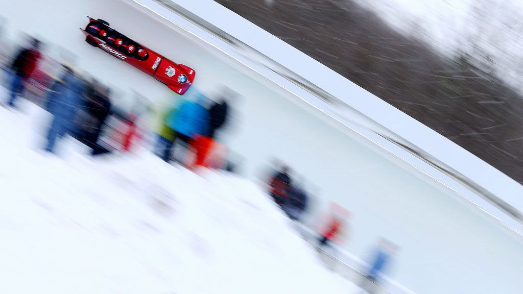 LAKE PLACID, NEW YORK - FEBRUARY 16: Rudy Rinaldi, Boris Vain, Thibault Demarthon and Steven Borges Mendonaca of Monado compete during the first run of the 4-man bobsleigh competition on day 2 of the 2019 IBSF World Cup Bobsled & Skeleton at the Mount Van Hoevenberg Olympic Bobsled Run on February 16, 2019 in Lake Placid, New York. (Photo by Maddie Meyer/Getty Images)