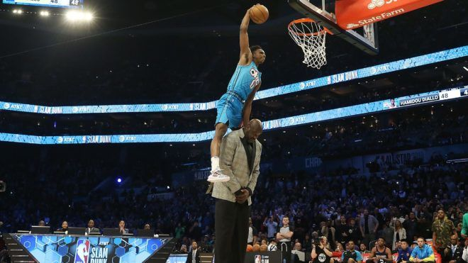 CHARLOTTE, NORTH CAROLINA - FEBRUARY 16: Hamidou Diallo #6 of the Oklahoma City Thunder dunks over Shaquille O'Neal during the AT&T Slam Dunk as part of the 2019 NBA All-Star Weekend at Spectrum Center on February 16, 2019 in Charlotte, North Carolina. (Photo by Streeter Lecka/Getty Images)