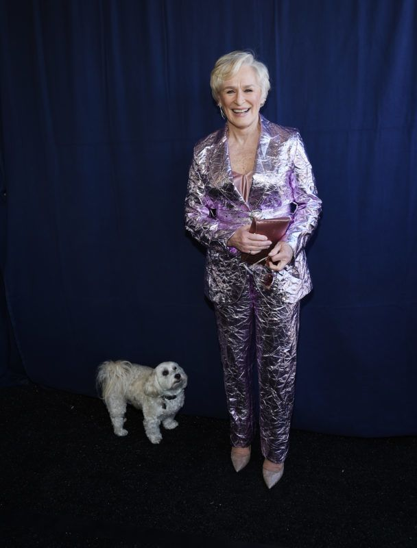 SANTA MONICA, CALIFORNIA - FEBRUARY 23: Actress Glenn Close and her dog Pip attend the 2019 Film Independent Spirit Awards on February 23, 2019 in Santa Monica, California. (Photo by Amanda Edwards/Getty Images)