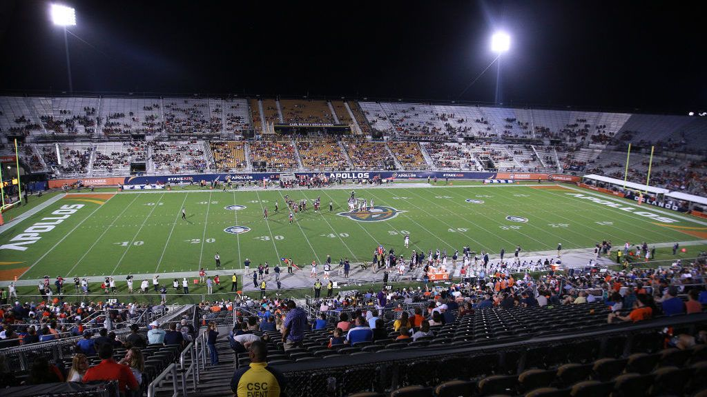 ORLANDO, FLORIDA - FEBRUARY 23: A general view is seen as the Orlando Apollos take on the Memphis Express during an Alliance of American Football game on February 23, 2019 in Orlando, Florida.  The Orlando Apollos won 21-17. (Photo by Harry Aaron/AAF/Getty Images)
