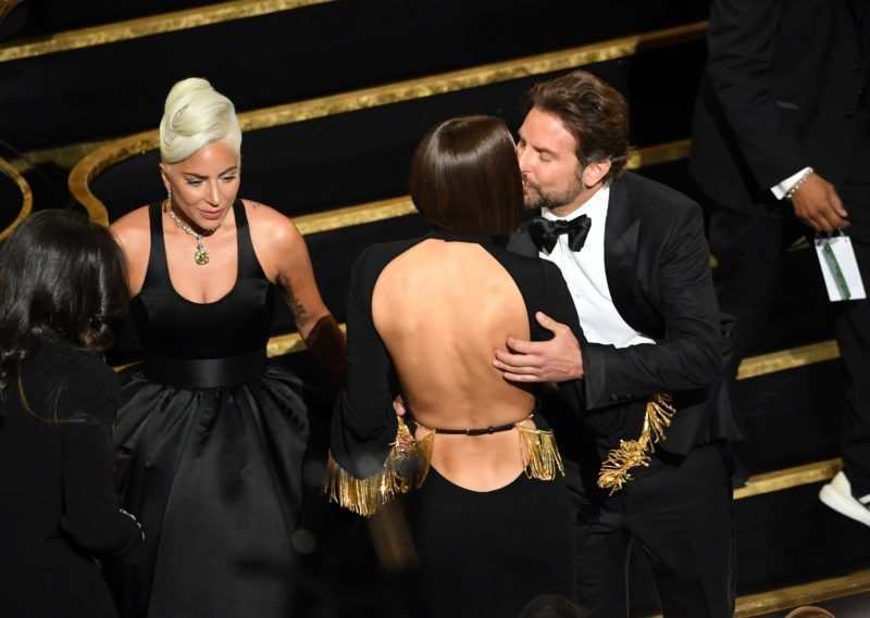 HOLLYWOOD, CALIFORNIA - FEBRUARY 24: (L-R) Lady Gaga, Irina Shayk and Bradley Cooper during the 91st Annual Academy Awards at Dolby Theatre on February 24, 2019 in Hollywood, California. (Photo by Kevin Winter/Getty Images)