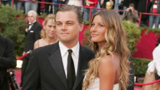 """Leonardo DiCaprio, nominee Best Actor in a Leading Role for """"The Aviator,"""" and Gisele Bundchen (Photo by Jeffrey Mayer/WireImage)"""