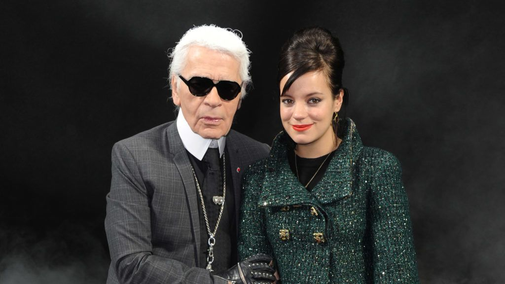 Karl Lagerfeld and Lily Allen attend the Chanel Ready to Wear Autumn/Winter 2011/2012 show, at Paris Fashion Week in Paris. (Photo by Stephane Cardinale/Corbis via Getty Images)