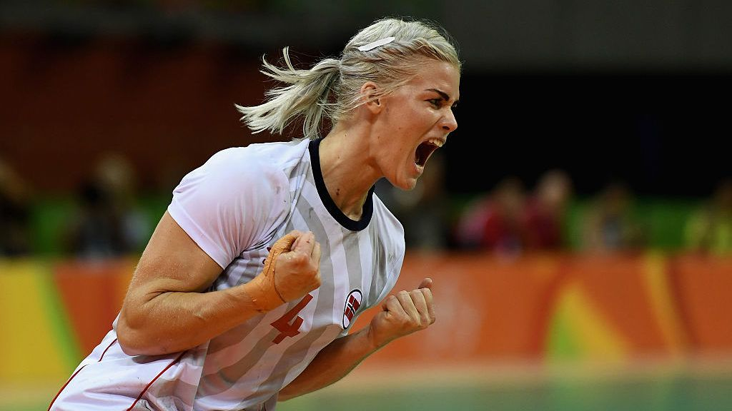 RIO DE JANEIRO, BRAZIL - AUGUST 20: Veronica Kristiansen of Norway reacts during the Women's Handball Bronze medal match between Netherlands and Norway at Future Arena on Day 15 of the Rio 2016 Olympic Games at the Future Arena on August 20, 2016 in Rio de Janeiro, Brazil.  (Photo by David Ramos/Getty Images)