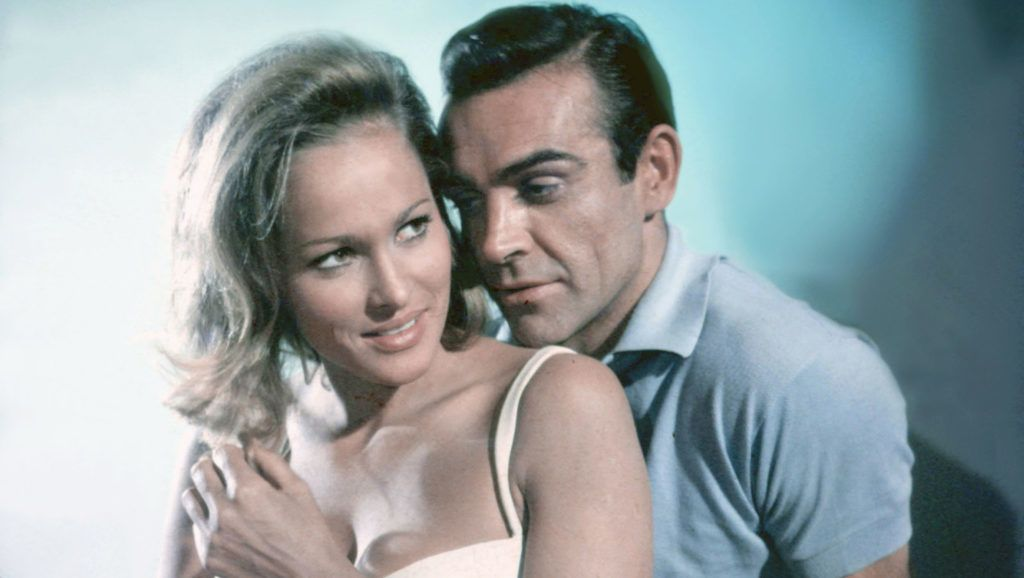 Scottish actor Sean Connery and Swiss actress Ursula Andress on the set of Dr. No, based on the novel by Ian Fleming, and directed by Terence Young. (Photo by Sunset Boulevard/Corbis via Getty Images)