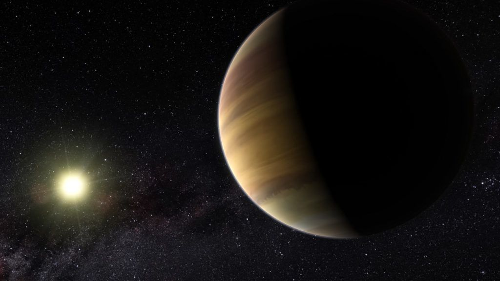 A large gas planet on the background of its star. Computer graphics. Exoplanet in the artist's view.
