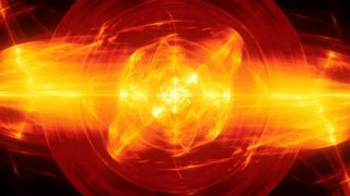 Fiery glowing fusion in space, plasma force field, computer generated abstract background, 3D rendering