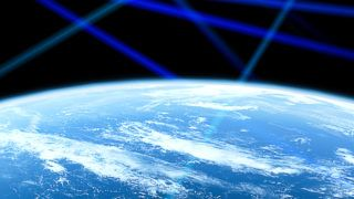 Planet Earth from the space with blue glowing lines. Satellites network. Global communication.  Some elements of this image are furnished by NASA