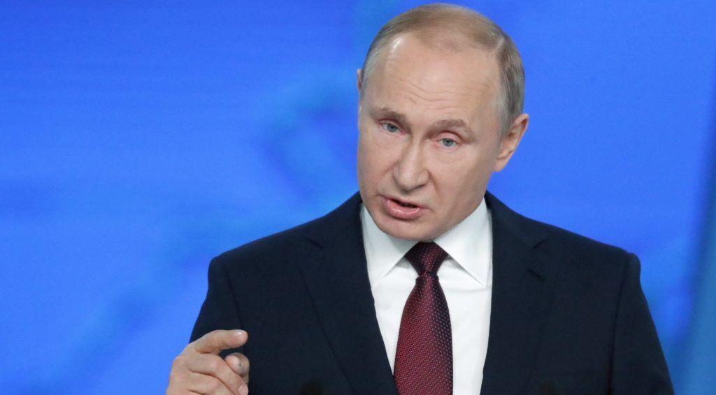 Moszkva, 2019. február 20. Vlagyimir Putyin orosz elnök beszél az orosz parlament két háza elõtt tartott évértékelõjén a moszkvai Gosztiny Dvorban 2019. február 20-án. MTI/EPA/Makszim Sipenkov