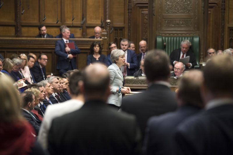 """A handout photograph released by the UK Parliament shows Britain's Prime Minister Theresa May making a statement in the House of Commons in London on March 25, 2019 outlining the next steps that parliament will take in the Brexit process. - Prime Minister Theresa May admitted Monday she had still not secured the votes needed to get her Brexit deal through parliament, raising again the prospect that Britain could crash out of the European Union in two weeks' time. (Photo by Mark DUFFY / UK PARLIAMENT / AFP) / RESTRICTED TO EDITORIAL USE - NO USE FOR ENTERTAINMENT, SATIRICAL, ADVERTISING PURPOSES - MANDATORY CREDIT """" AFP PHOTO /MARK DUFFY/ UK Parliament"""""""