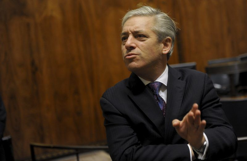 Britain's Speaker of the House of Commons John Bercow speaks during a meeting at the Finnish Parliament in Helsinki on October 8, 2012.  AFP PHOTO / VESA MOILANEN +++ FINLAND OUT (Photo by VESA MOILANEN / LEHTIKUVA / AFP)