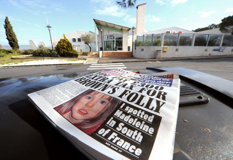 Picture taken on February 21, 2008 of a British newspaper announcing that young British missing Madeleine McCann was spotted near the Motorway restaurant near Sete, southern France. A Dutch student said she spotted last Friday Maddie McCann but the first screenings of surveillance videos at the resting area of the freeway could not confirmed the information, according to a source close to investigators. Madeleine McCann was nine days short of her fourth birthday when she vanished from the family's apartment in the resort of Praia da Luz on Portugal's southern Algarve coast exactly nine months ago. AFP PHOTO / PASCAL GUYOT (Photo by PASCAL GUYOT / AFP)