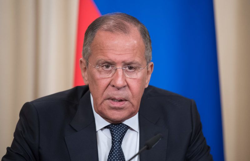 10 May 2018, Russia, Moscow:Russian ForeignSecretary Sergej Lavrov gives a press conference after speaking to his German counterpart Heiko Maas (Social Democratic Party). Among other things, both spoke of the German and Russian relationship. Photo: Ralf Hirschberger/dpa