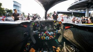 Haas F1 Team VF-18 Ferrari, Mechanical detail of the cockpit and steering wheel during 2018 Formula 1 FIA world championship, Italy Grand Prix, at Monza from august 30 to september 2 - Photo Florent Gooden / DPPI