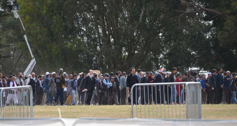 CHRISTCHURCH, NEW ZEALAND - MARCH 20: People attend the funeral ceremony of Syrian Khalid Mustafa and his son Hamza Mustafa, victims of twin terror attacks on New Zealand mosques, on March 20, 2019 at Christchurch Memorial Park Cemetery in Christchurch, New Zealand. Recep Sakar / Anadolu Agency