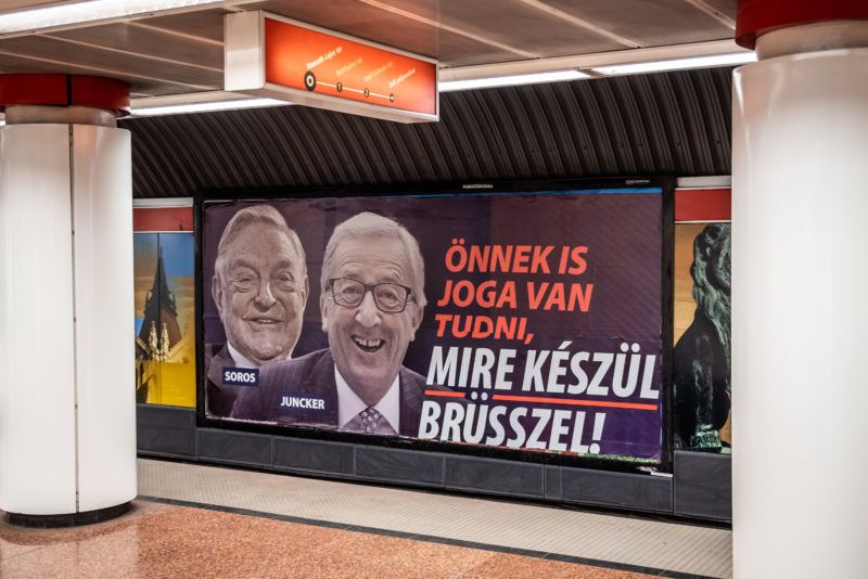Image: 73873074, Soros Juncker plakát a Kossuth téri metrómegállóban 2019.03.05.-én., Place: Budapest, Hungary, License: Rights managed, Model Release: No or not aplicable, Property Release: Yes, Credit: smagpictures.com