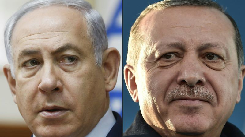 """(COMBO) This combination of pictures created on April 1, 2018 shows a file photo taken on November 19, 2017 of Israel's Prime Minister Benjamin Netanyahu (L) attending the weekly cabinet meeting in Jerusalem and a file photo taken on December 15, 2017 of Turkish President Recep Tayyip Erdogan during the inauguration ceremony of Turkey's first automated urban metro line on the Asian side of Istanbul. - Turkish President Recep Tayyip Erdogan accused Benjamin Netanyahu on April 1, 2018 of being """"a terrorist"""" after the Israeli prime minister rejected Ankara's """"moral lessons"""" over deadly clashes in Gaza. (Photos by RONEN ZVULUN and OZAN KOSE / AFP)"""