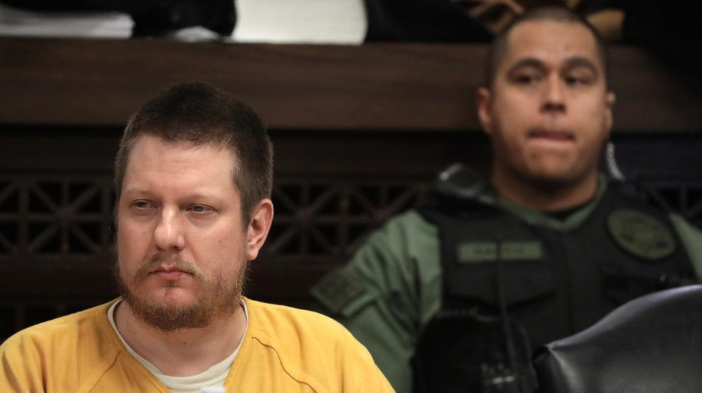 Former Chicago police Officer Jason Van Dyke and his attorney Daniel Herbert attend Van Dyke's sentencing hearing at the Leighton Criminal Court Building on January 18, 2019, in Chicago. - Van Dyke is to be sentenced Friday for the fatal shooting of Laquan McDonald, an African-American 17-year-old, in 2014. (Photo by Antonio Perez / POOL / AFP)