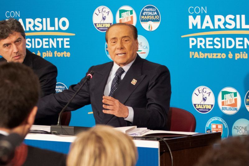 Italy's former prime minister and leader of the centre-right Forza Italia party, Silvio Berlusconi speaks during a joint press conference with Italy's Interior Minister and deputy PM, and Federal Secretary of the far-right Northern League party, and with the leader of the conservative Brothers of Italy party (both not in picture) for the Abruzzo regional electoral campaign on February 7, 2019 in Pescara. (Photo by Luca Prizia / AFP)
