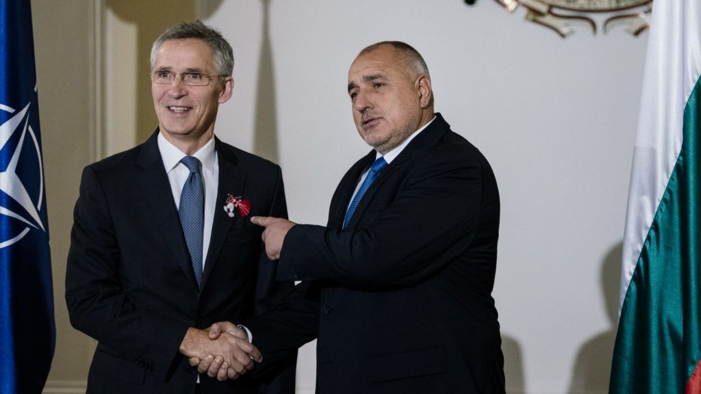 Bulgaria's Prime Minister Boyko Borisov (R) gestures as he welcomes NATO Secretary-General Jens Stoltenberg ahead of their meeting in Sofia on March 1, 2019. (Photo by Dimitar DILKOFF / AFP)