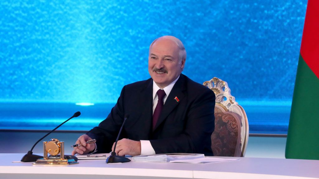 Belarus President Alexander Lukashenko meets with members of the public and local and foreign journalists in Minsk on March 1, 2019. (Photo by Nikolay PETROV / BELTA / AFP)